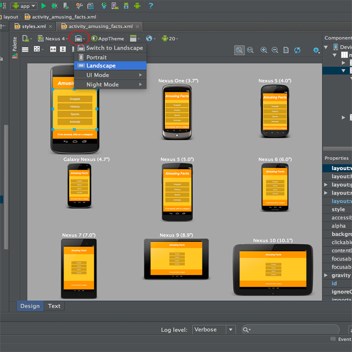 landscape design app android preview your app in landscape or portrait orientation android studio with no title bar