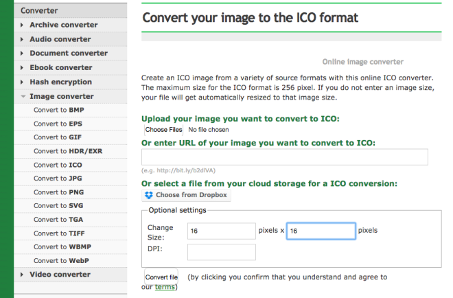Resizing your image and saving it as a .ico file.